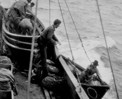 Putting the dories overboard from a steamer